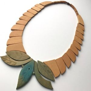 Vintage Wooden Leaf Statement Necklace
